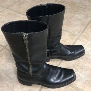 Frye Heath Outside zip black boots Moto mid calf